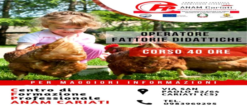 Corso OPERATORE FATTORIE DIDATTICHE